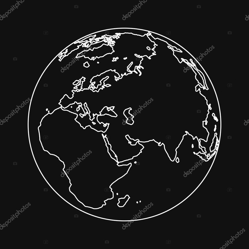 Planet Earth in outline style