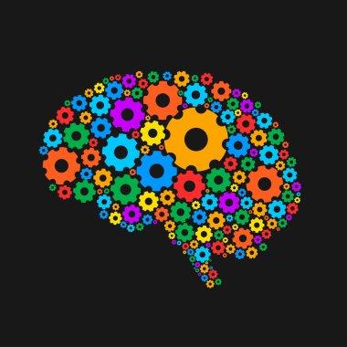 Multicolored silhouette of a brain