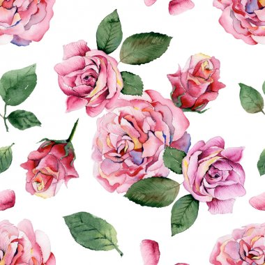 Seamless watercolor pattern with pink roses on different background stock vector