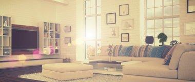 3d - modern livingroom - retro style - shot 41