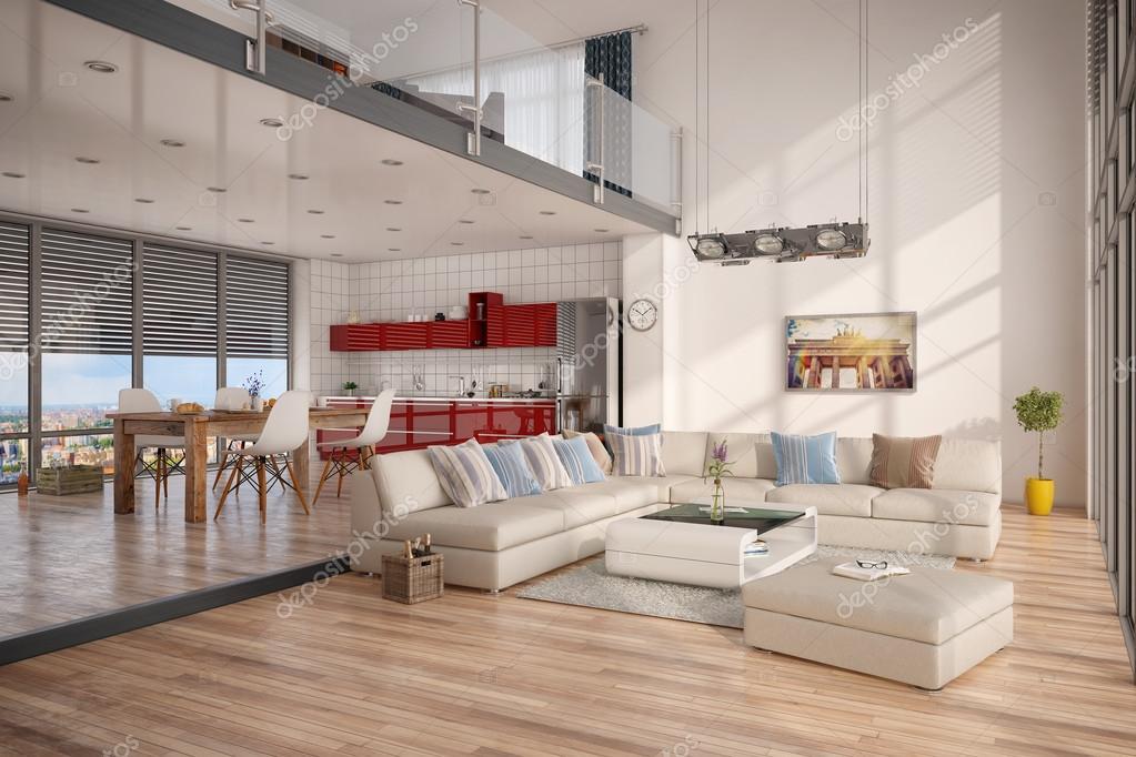 3d render of modern loft stock photo marog pixcells for Oficinas enterprise