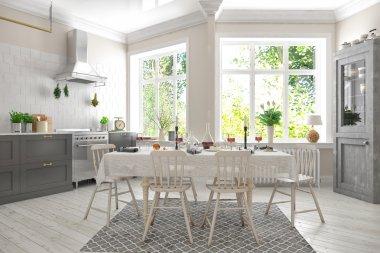 3d render of scandinavian flat - kitchen - dining room