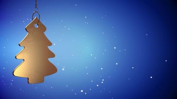 Vid - Golden Christmas Tree Tag - kék - Copyspace
