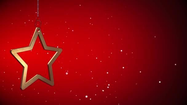 Slovesný vid - zlatý vánoční hvězda Tag - červená - Copyspace