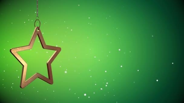 Slovesný vid - zlatý vánoční hvězda Tag - zelená - Copyspace