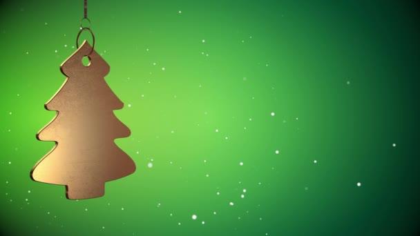 Vid - zlatý vánoční stromeček Tag - zelená - Copyspace