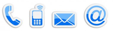 Four contacting sticker symbols in blue