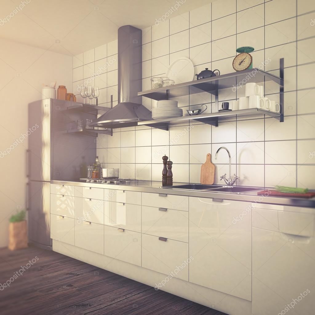 moderne Küche Interieur - Vintage-look — Stockfoto © marog-pixcells ...