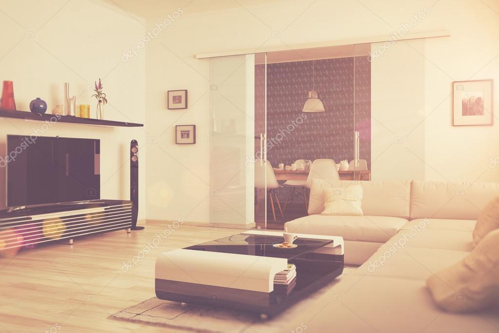 3D   Moderne Wohnzimmer Mit Essecke   Retro Look U2014 Stockfoto
