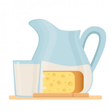 Fresh organic milk products set with cheese and milk in a jug.Farm fresh product. Isolated vector illustration,symbol,object,sticker,design element for menu, poster,label,packaging. icon