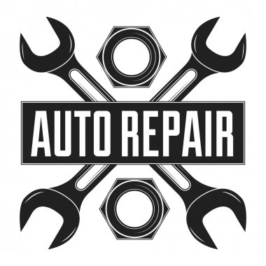 Vintage mechanic auto service repair label, emblem and logo. Vector illustration.  Car service
