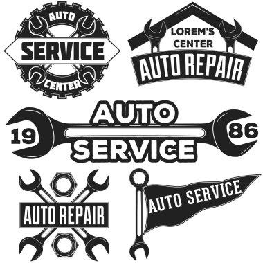 Vintage mechanic auto service repair label, emblem and logo. Vector illustration.  Car service, fix. Monochrome auto repair car service logo for invitations, projects, cards, prints.