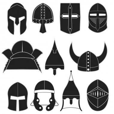Vector icons, logo, labels of monocrome black helmets of ancient warriors on a white background for projects, cards, invitations. Helmets design elements. Sparta, gladiators, knights, samurai helmets