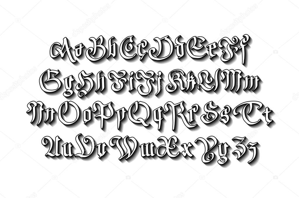 spesso Vettoriali stock Scrittura gotica, Illustrazioni Scrittura gotica  QE49