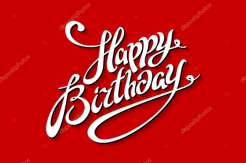 happy birthday lettering template vector illustration red background