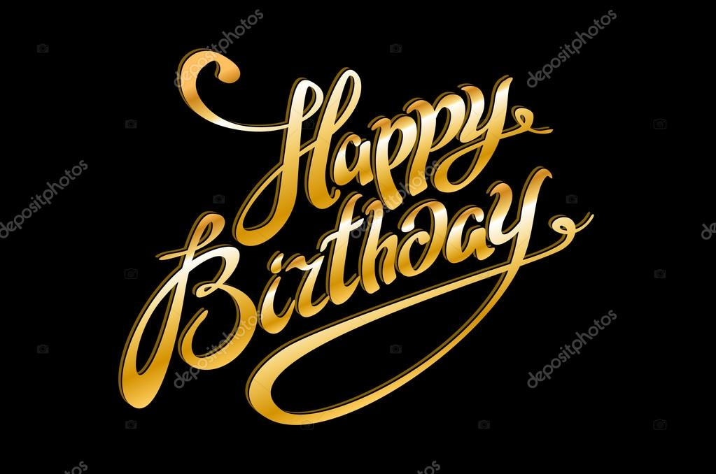 Vector golden text on black background happy birthday to you vector golden text on black background happy birthday to you lettering for invitation and greeting stopboris Choice Image