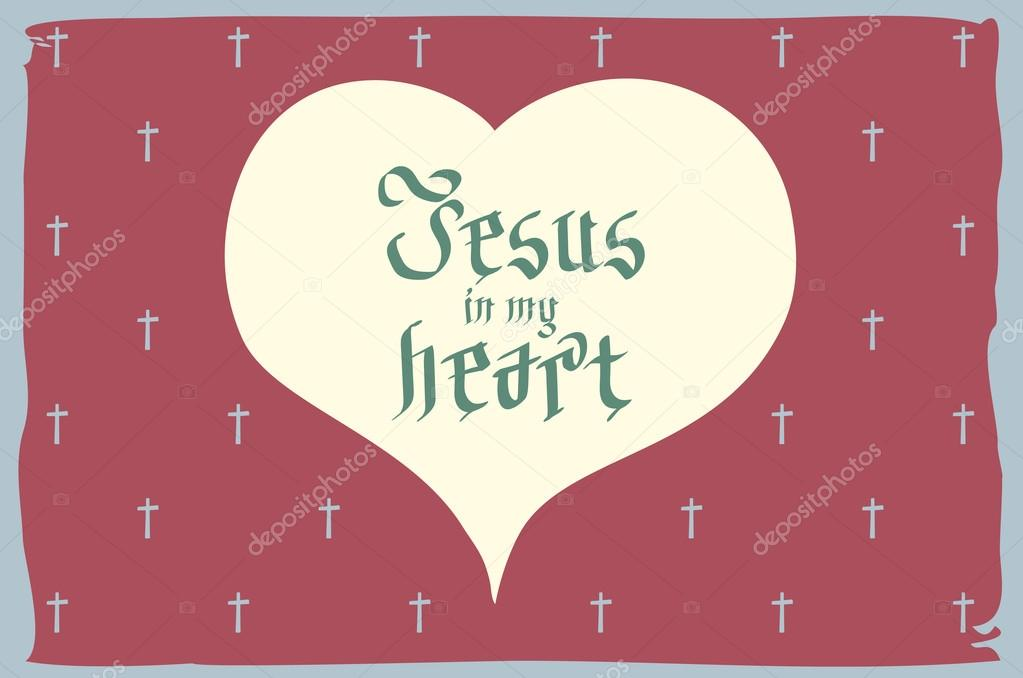 Gothic Bible Lettering Christian Art Jesus In My Heart Vector