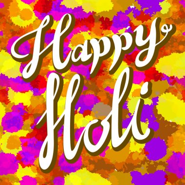 Happy Holi spring festival of colors greeting vector background with realistic volumetric colorful Holi powder paint clouds and sample text. Blue, yellow, pink and violet powder paint art stock vector