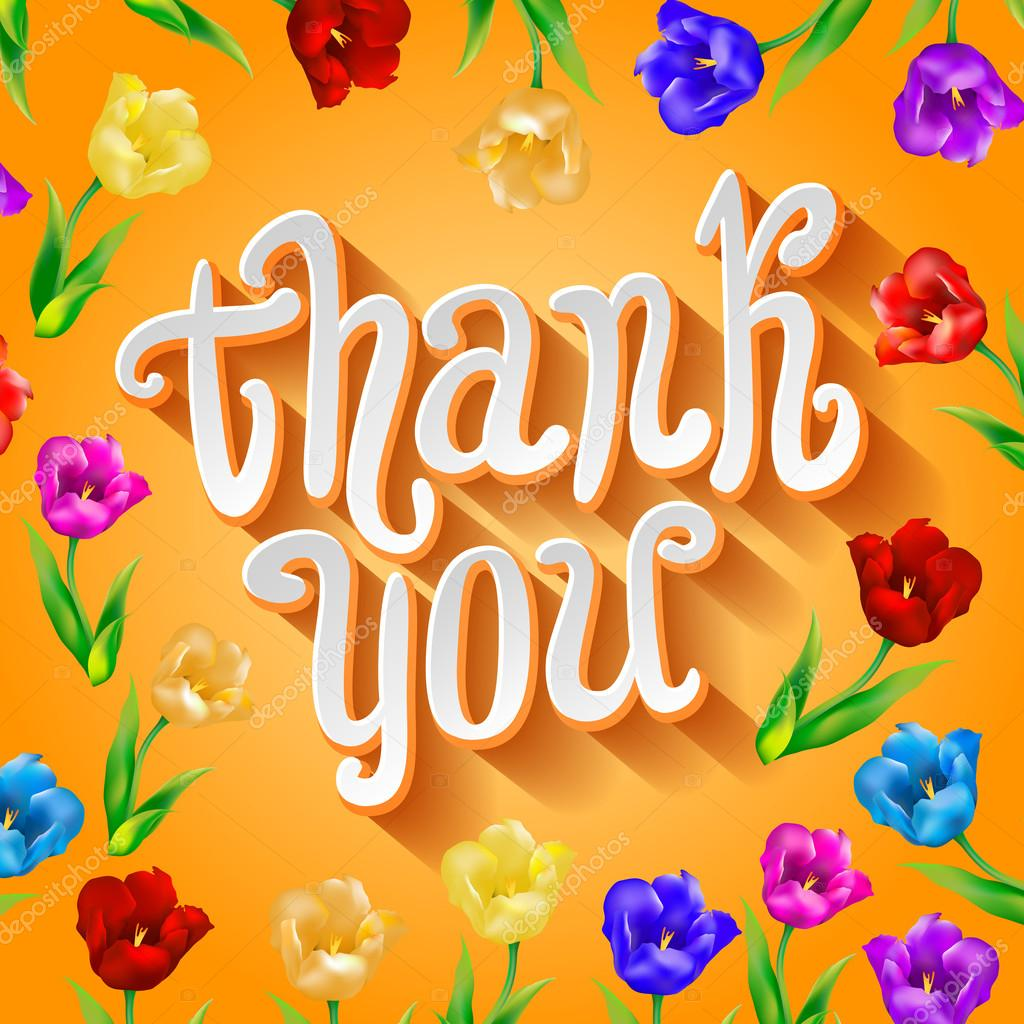 Vector thank you script greeting card with cute floral elements vector thank you script greeting card with cute floral elements stock vector kristyandbryce Choice Image
