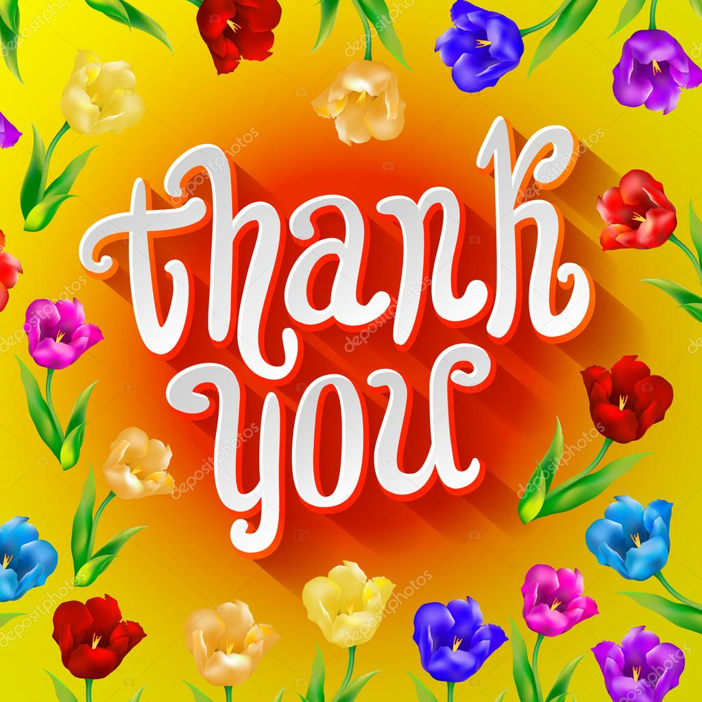 Vector thank you script greeting card with cute floral elements vector thank you script greeting card with cute floral elements stock vector 103785974 kristyandbryce Images