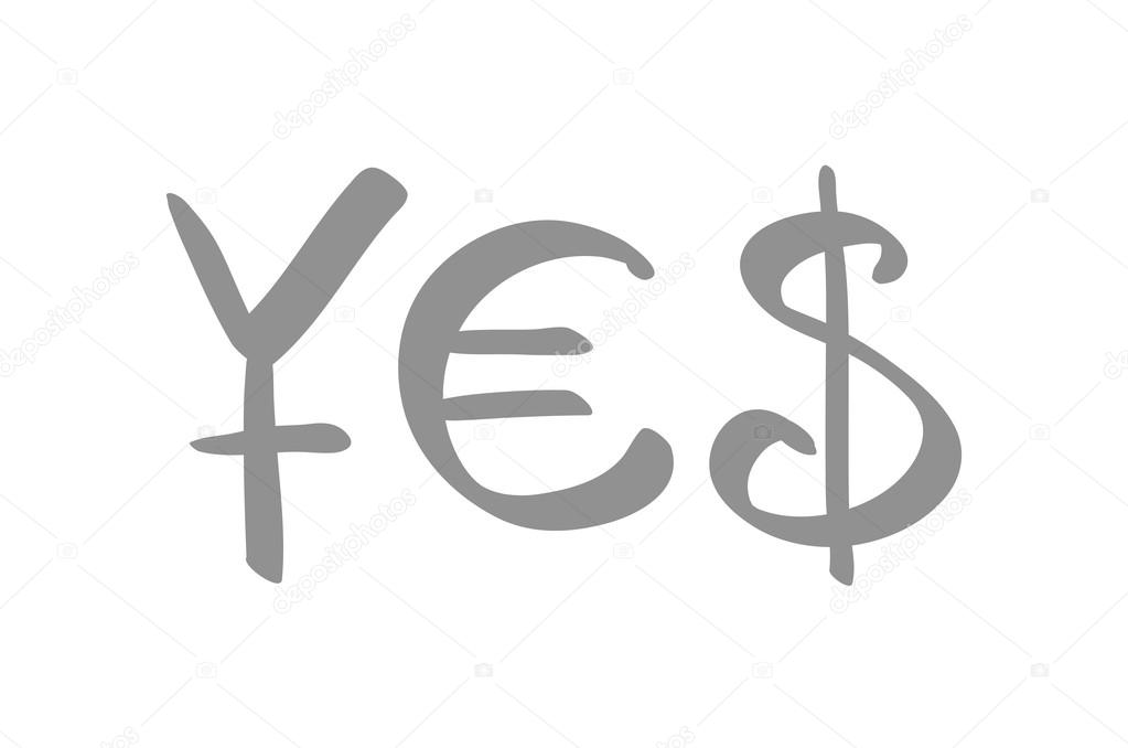 Currency Symbols For Yen Euro And Us Dollar Forming A Word Yes