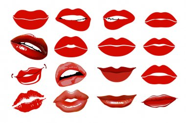 Set of 16 glamour lips, with vinous lipstick colors. collage, lips. Set of isolated women lips on light background. Vector illustration. Lips set. design element. Woman's lip gestures set. Girl mouths