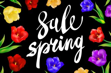 Spring Sale Word Hanging on Leaves with Strings. Vector Illustration