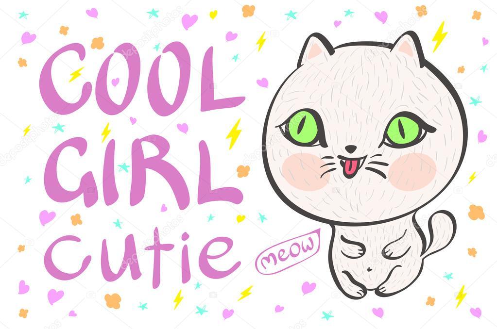 Bílá dívka kočička fotky