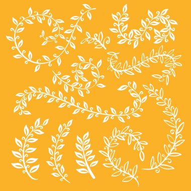 Autumn leaf set. Set wreaths and laurel. Hand painted orange branches, leaves, leaf, petal decor elements. For design template, invitation. Hand sketched brushes texture. Nature, organic items. Vector