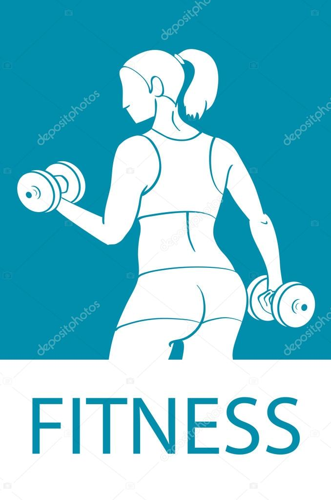 Fitness club and gym banner or poster design  Silhouette of