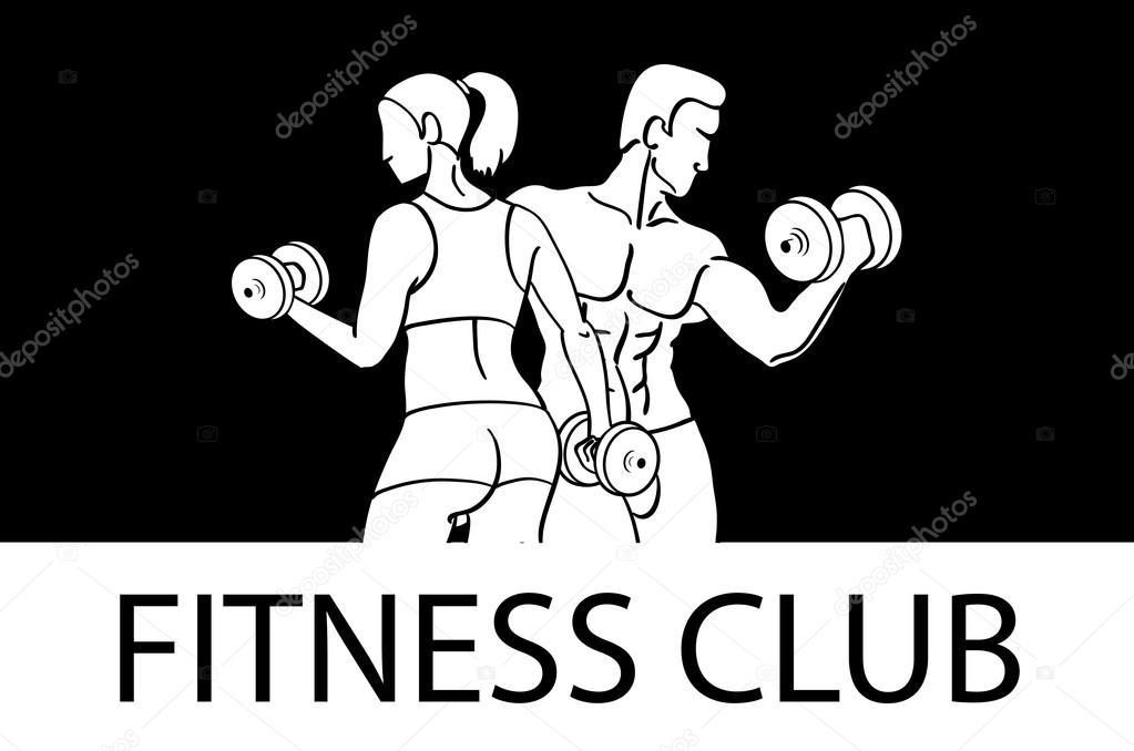 Mann und Frau Fitness-Vorlage. Gym Club Logo. Sport Fitnessclub ...