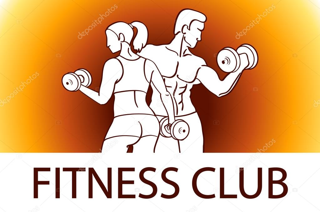 man and woman fitness template gym club logotype sport fitness