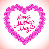 Růžová růže matka den srdce vyroben z fialové růže izolované na bílém pozadí. Květinové srdce tvar vektorové pozadí