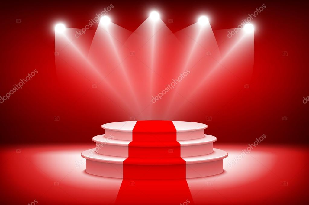 3d theatrical background scene and red curtains red podium on a