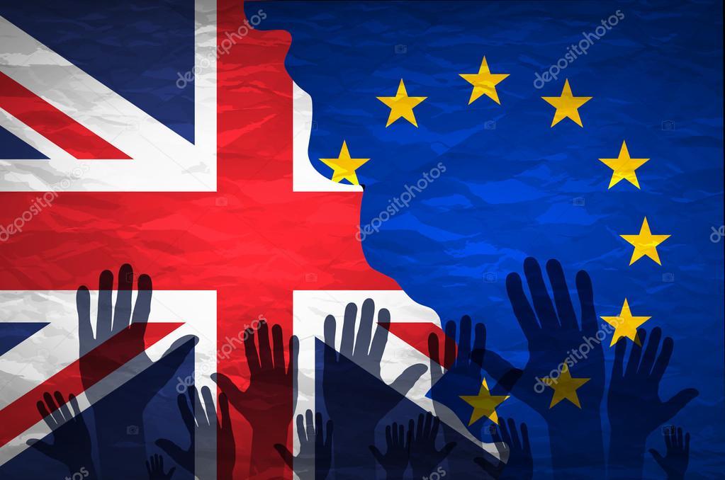 欧州共同体の旗と模様の手がイギ...