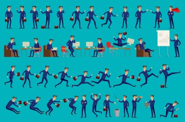 Set of Happy office man. Vector illustration. Set of businessman characters poses, eps10 vector format
