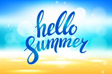 Vector hello summer background. Hello summer vector illustration on blurred background with sun rays. Hello summer lettering. Hello summer - stock vector.