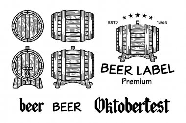 Set of vintage wooden barrels in different foreshortening. Monochrome style. Isolated on white back ground vector