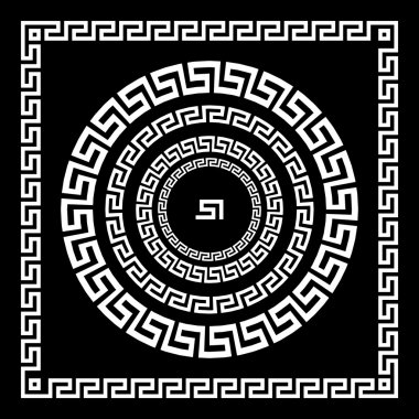Greek Ornament. Circle ornament meander. Round frame, rosette of ancient elements. Greek national antique round pattern, vector. Rectangular pulse. border