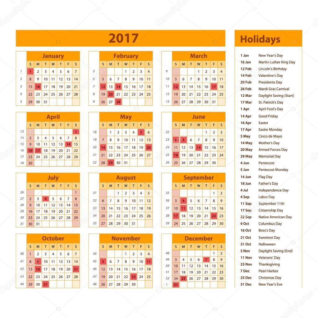 2009 s naptár Simple calendar 2017 marked with the official holidays for the USA  2009 s naptár