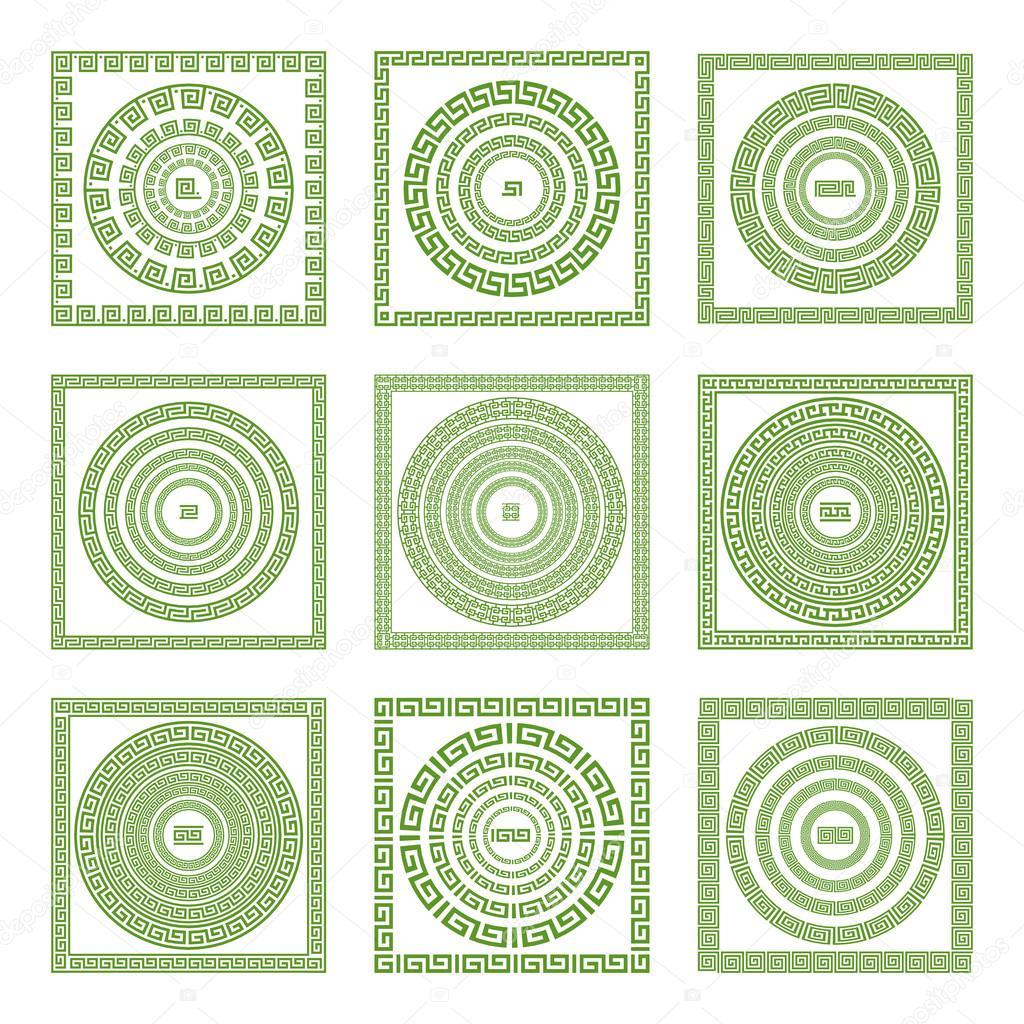 Laufen Mäander, Dekorative Mäander Grenze, Beispiele Mit Verschiedenen  Farben Und Eckstücke U2014 Stockvektor