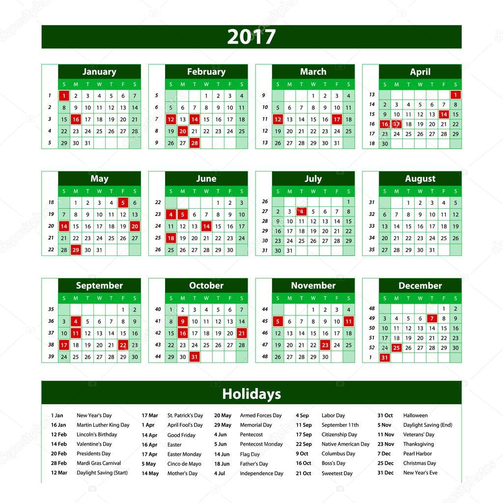 Vektor Vorlage grüne Kalender 2017 Jahr — Stockvektor © romanchik ...