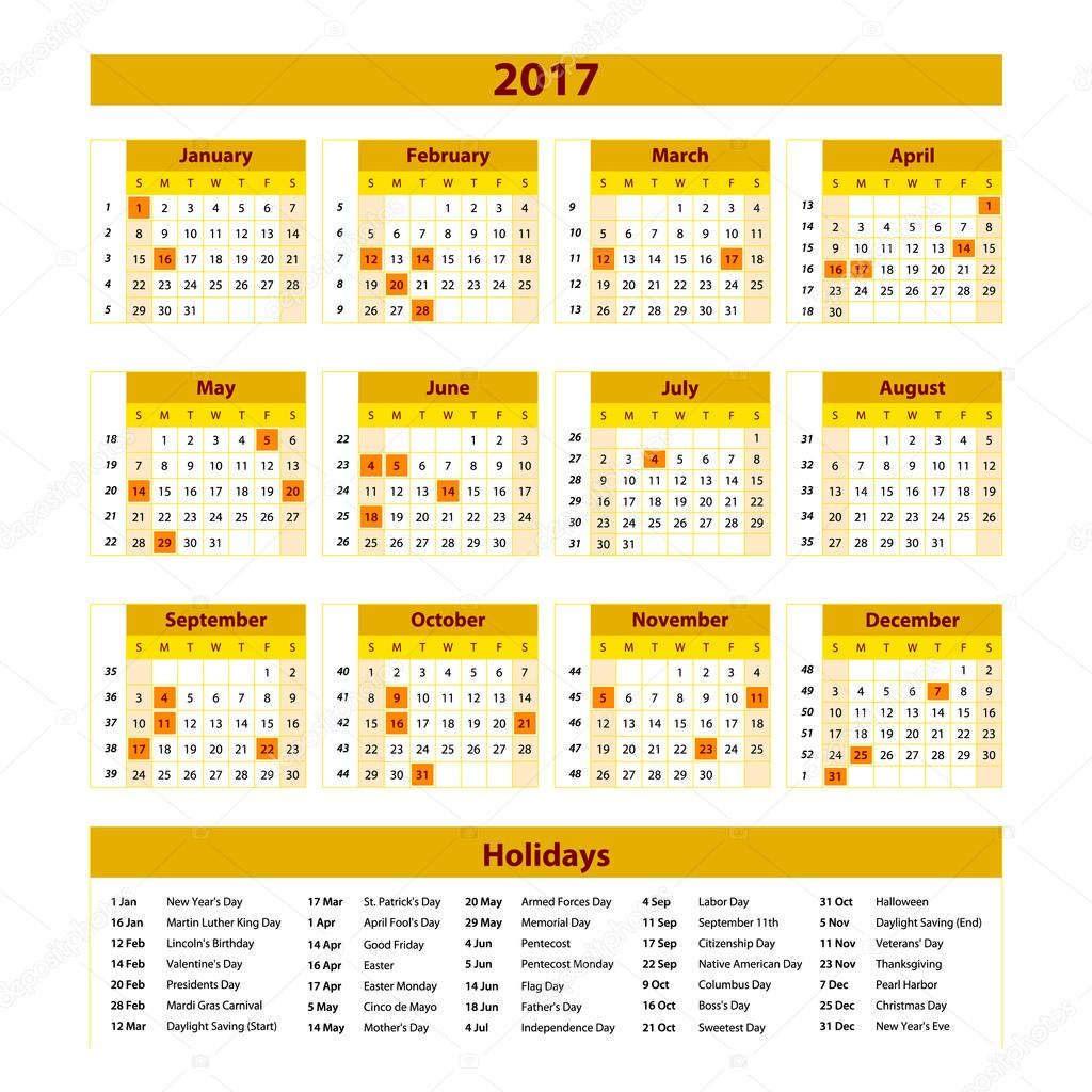 Wall Calendar Planner for 2017 Year. Vector Design Print Template ...