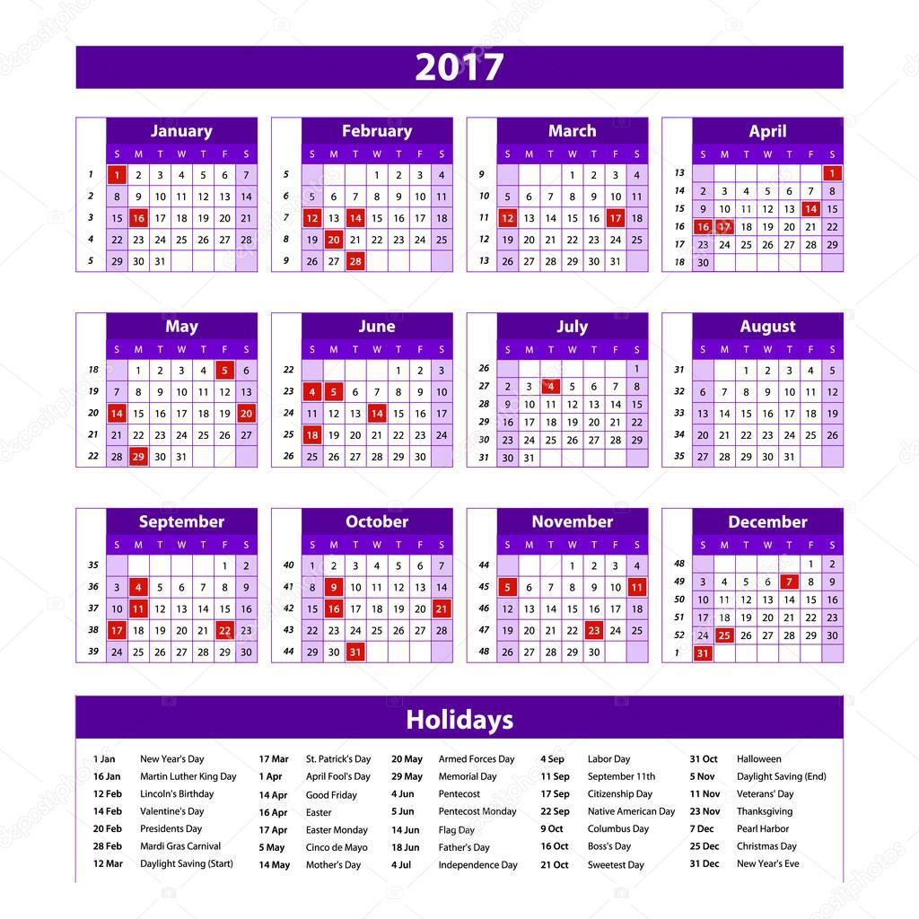 Calendario Completo.Imagenes Un Calendario Completo Papel Estilo 2017