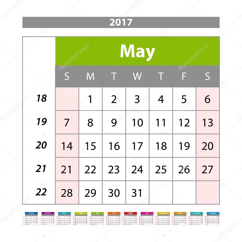 Mayo de 2017. Calendario mensual de pared para el año 2017. Vector ...