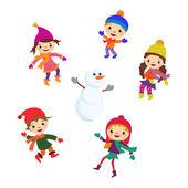 Fotografia Pupazzo di neve di bambina inverno, insieme di vettore di natale neve bambino