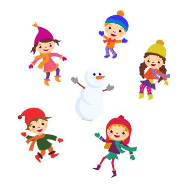 Winter Little girl snowman, Christmas boy snow  children vector set