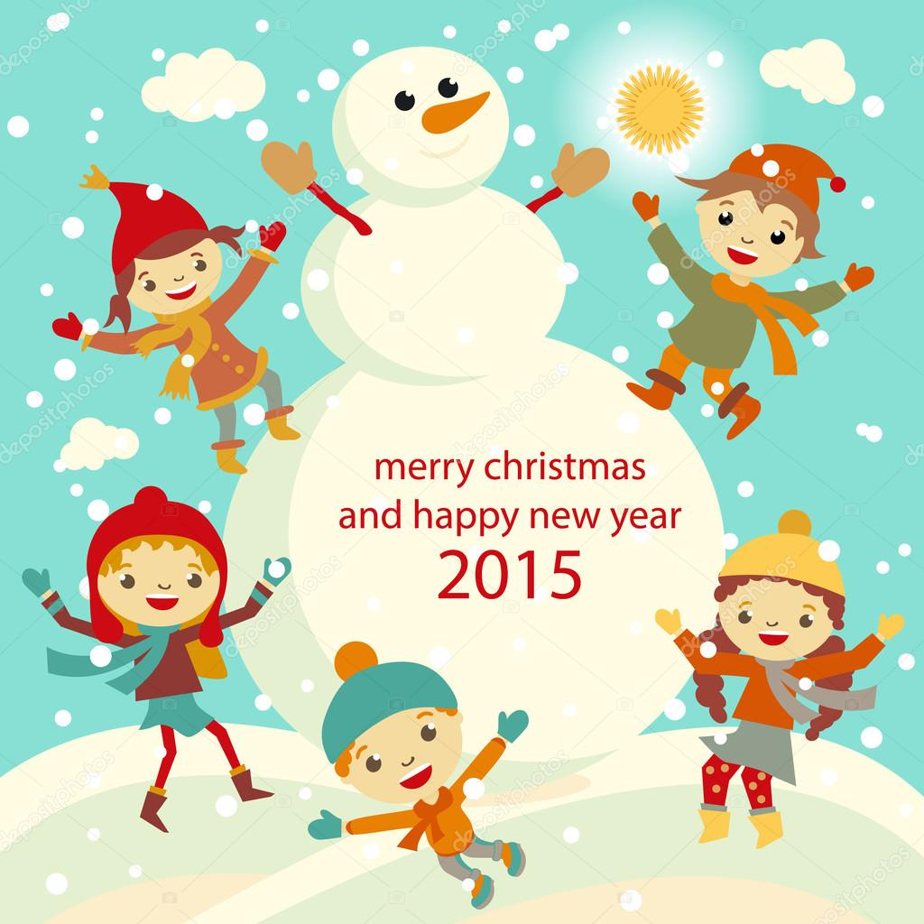 Happy kids playing with snow retro christmas card. Vector ...