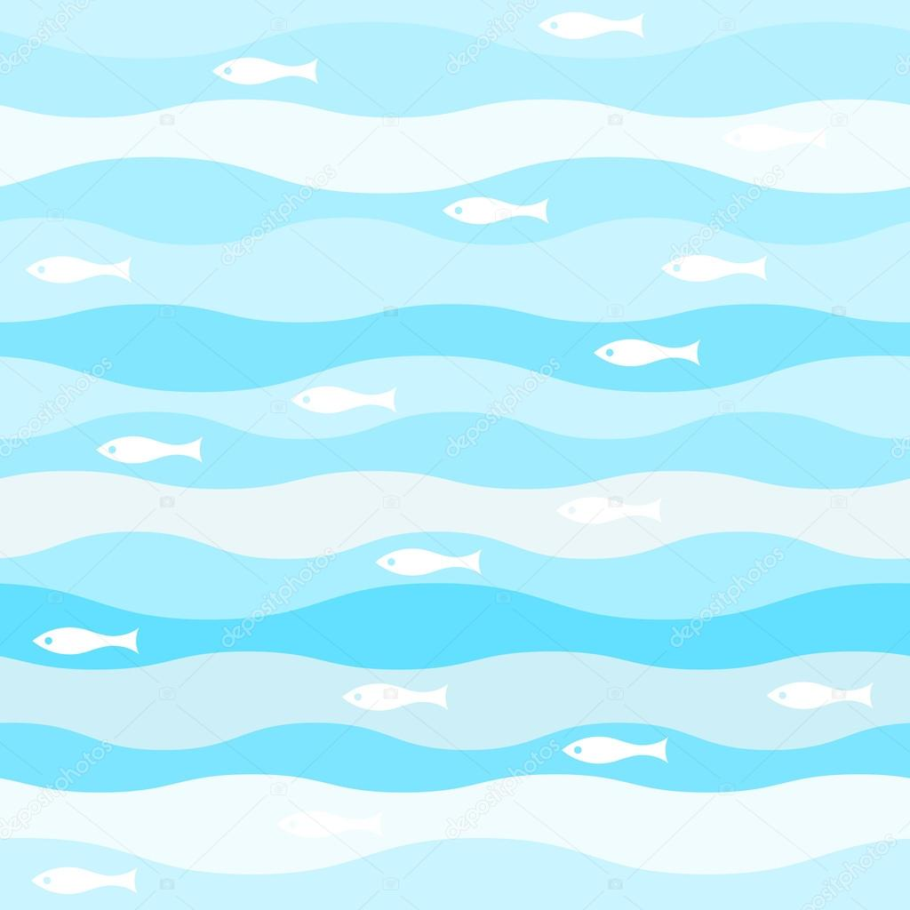 vector seamless abstract pattern, waves fish vintage retro