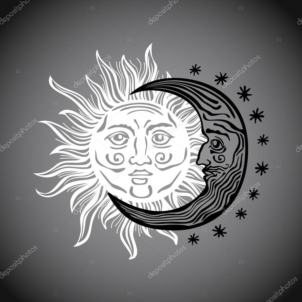 Illustration sun moon star human faces retro vintage ...